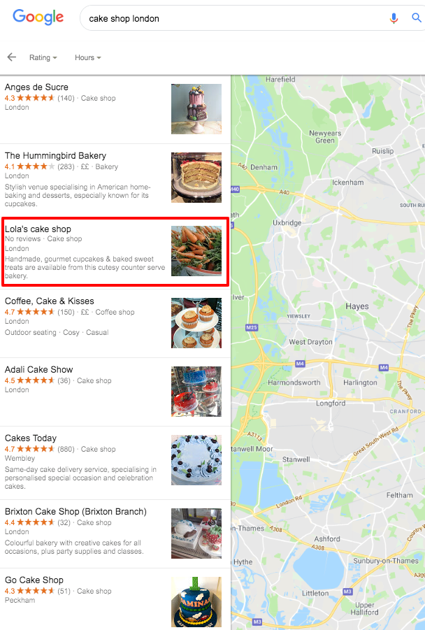 Cake Shop London - No Reviews